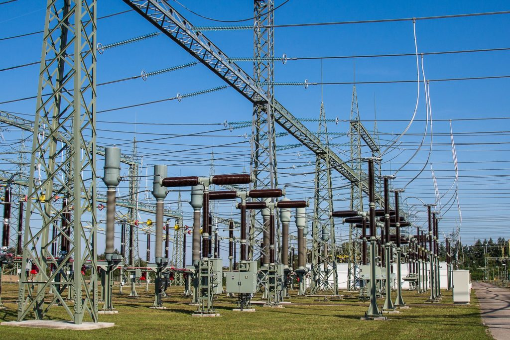 The structure and wiring of an electrical substation